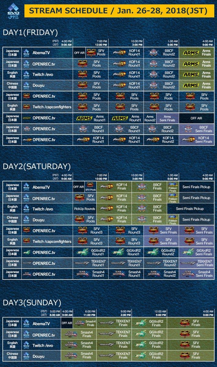 Расписание Japan EVO 2018