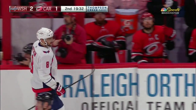 Alex Ovechkin rips power-play goal by Cam Ward for 28th of season