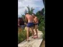 два мальчика в трусах дерутся огурцами