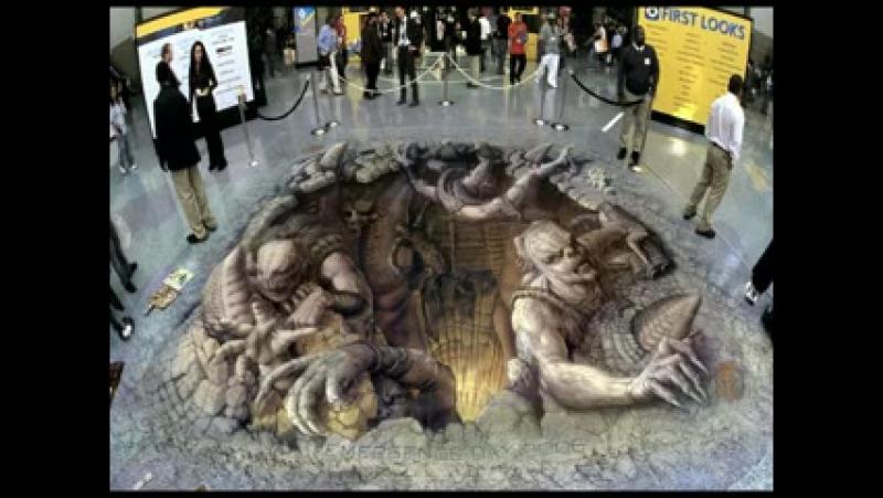 3D рисунки мелками на асфальте обман зрения