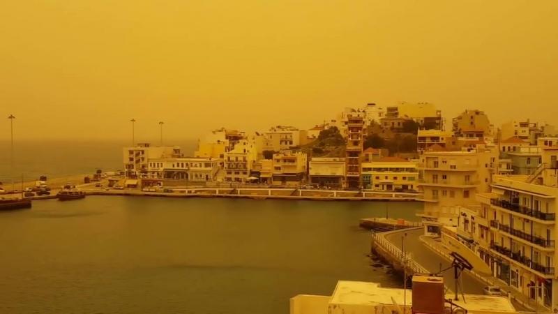 Agios Nikolaos covered by cloud of sand from the Sahara desert 😮😮😮