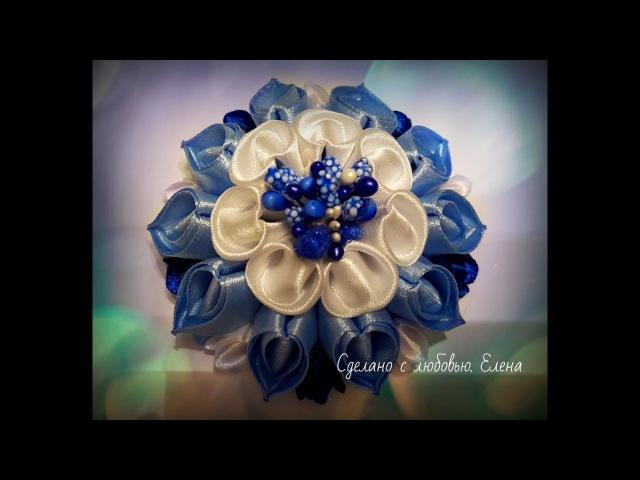 Flower Kanzashi Master Class hand made DIY, Канзаши МК, зефирка с новым лепестком *двойное сердечко*
