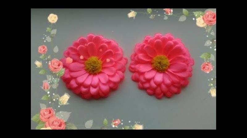 Красивые цветы из узкой ленты 1,2 см. МК Канзаши /Beautiful flowers from narrow strips 1.2 cm MK