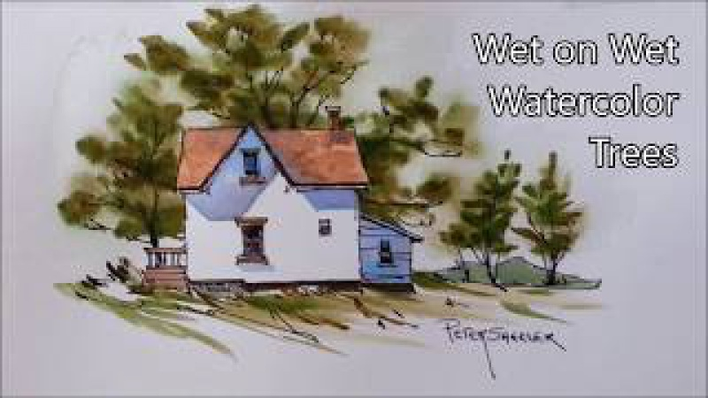 Simple Wet on Wet Trees in Watercolor Real Time Pen and Wash Demonstration Peter Sheeler