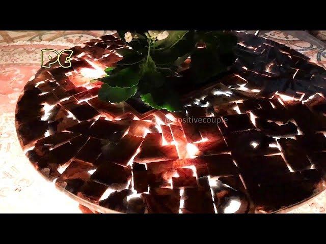 Table of waste wood and epoxy resin ArtLine Crystal Стол из обрезков и смолы ArtLine Crystal