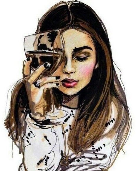 Картинки девушка с вином нарисованные, день