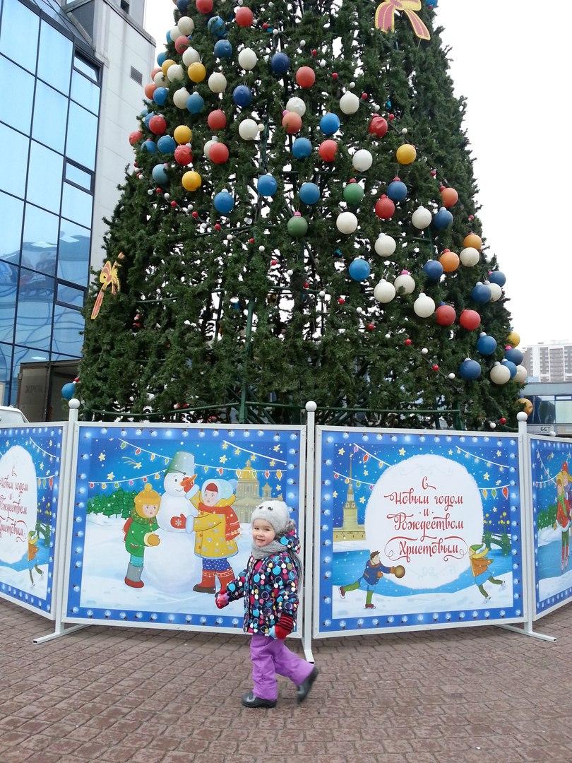 Появились фотографии новогодней ёлки в Купчино, которую украсили битыми игрушками