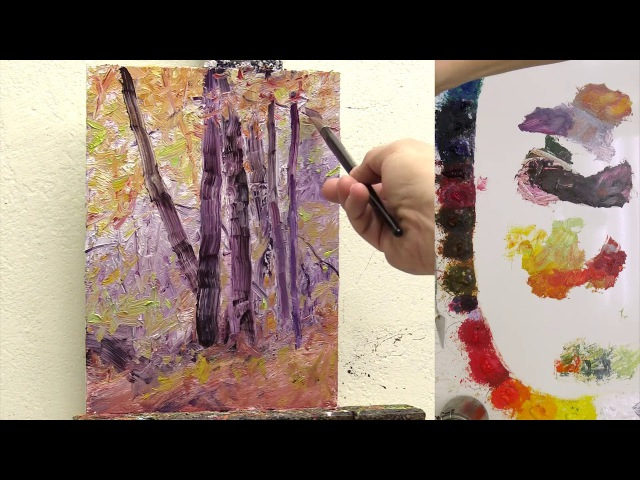 Paint Fall Trees with thick paint Fast Motion w Voice Instruction