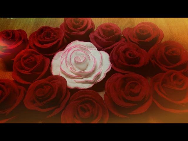 Розы из ватных дисков Как и чем покрасить розы