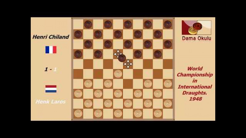 Henk Laros - Henri Chiland. World Championship in International Draughts- 1948.