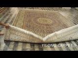 Hand-woven Silk rug Turkish Knots Carpet