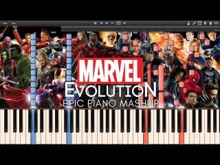 Marvel Evolution Epic Piano Mashup/Medley (Synthesia Piano Tutorial)+SHEETS&MIDI