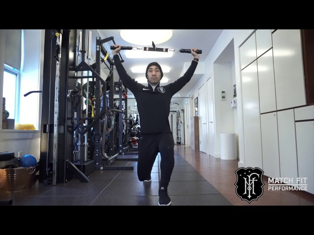 T Strap Overhead Lunge and Side Bend