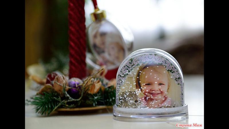 Новогодний Водяной шар с вашим фото со снежинками