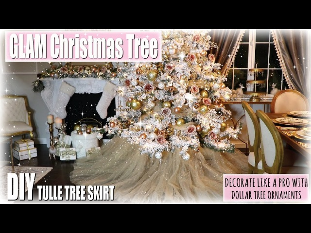 Decorate the CHRISTMAS TREE with me/ ROSE GOLD| BLUSH GLAM/ DIY tree Skirt| Dollar store