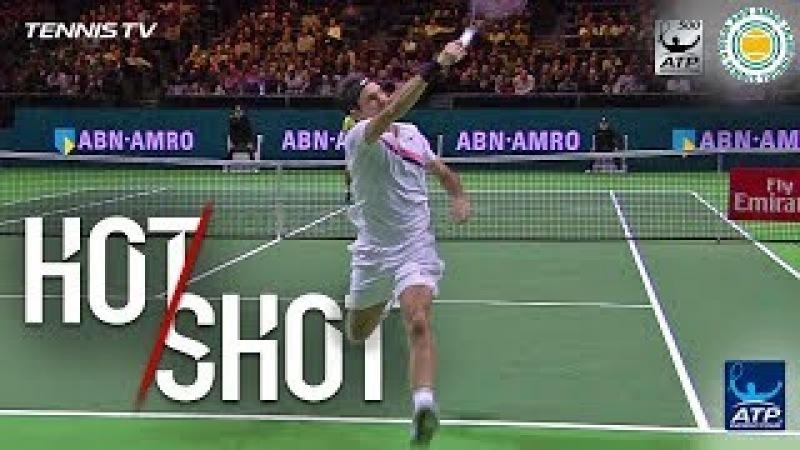 Federer Smacks Running Overhead Hot Shot Rotterdam 2018