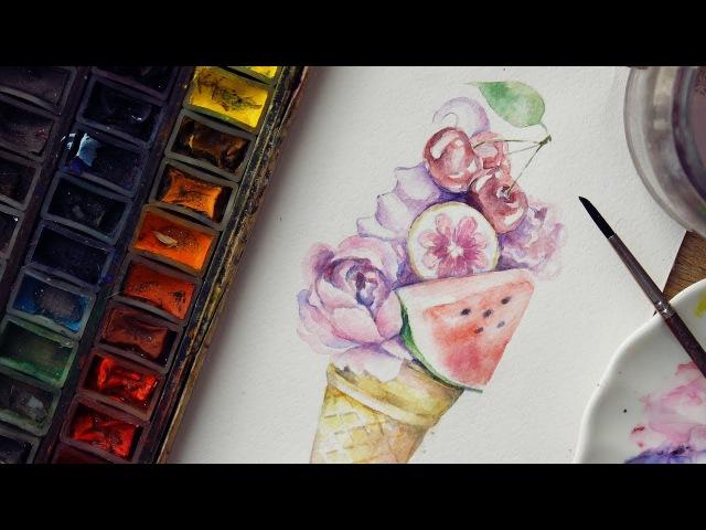 Акварель и летние мотивы ♡ Простая иллюстрация которую повторит каждый | Katerina Rise