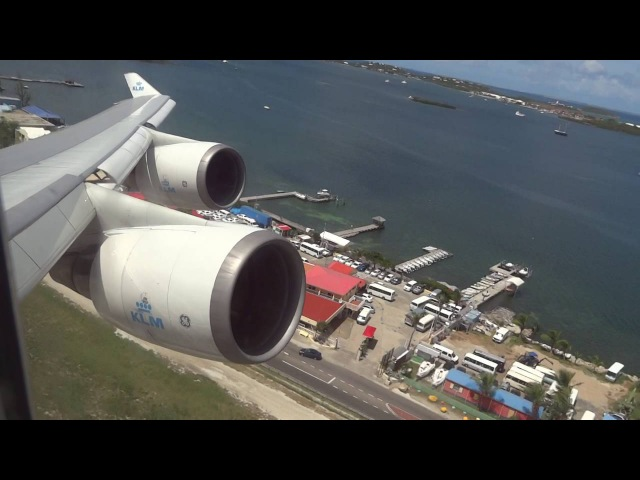 KLM Boeing 747-400 Rocket Takeoff St Maarten Princess Juliana Airport