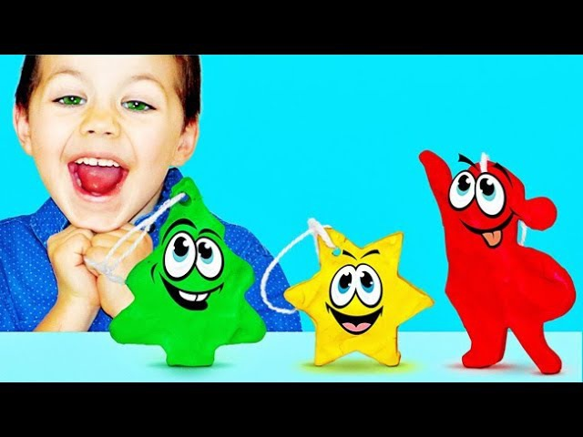 Learn Colors And DIY Plasticine Toys For Christmas Tree | Family Fun Skip To My Lou Nursery Rhymes