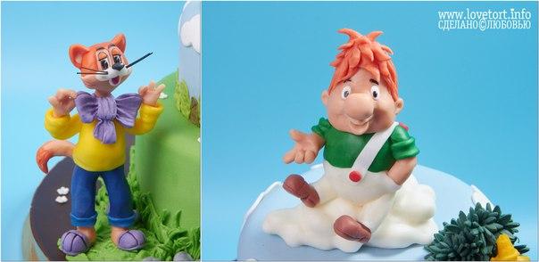 Торт с героями союзмультфильма, Леопольд и Карлсон. cake