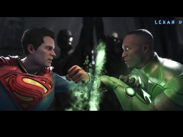 Injustice 2 - Супермен против Зелёных Фонарей (Хэл и Джон) - Intros Clashes (rus)