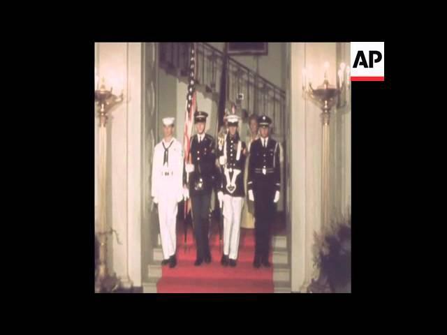 SYND 19 6 73 RUSSIAN LEADER BREZHNEV JOINS NIXON FOR WHITE HOUSE DINNER