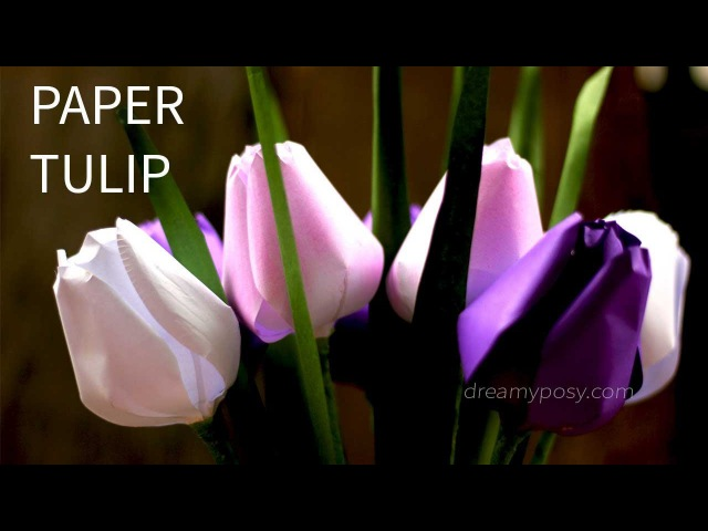 [FREE template and tutorial] How to make paper tulip flower from printer paper