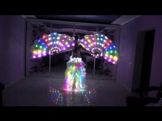 Пиксельные перьевые веера, светодиодная юбка