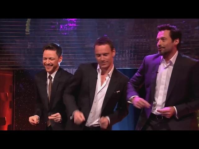 Michael Fassbender, Hugh Jackman James McAvoy Dance to