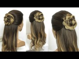 Hairstyle With Braided Flower. Hair Tutorial