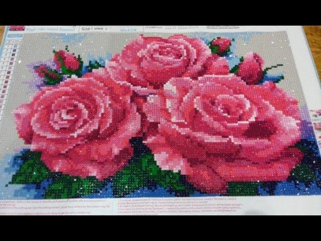 Алмазная Мозаика цветы Вышивка Живопись с AliExpress Распаковка
