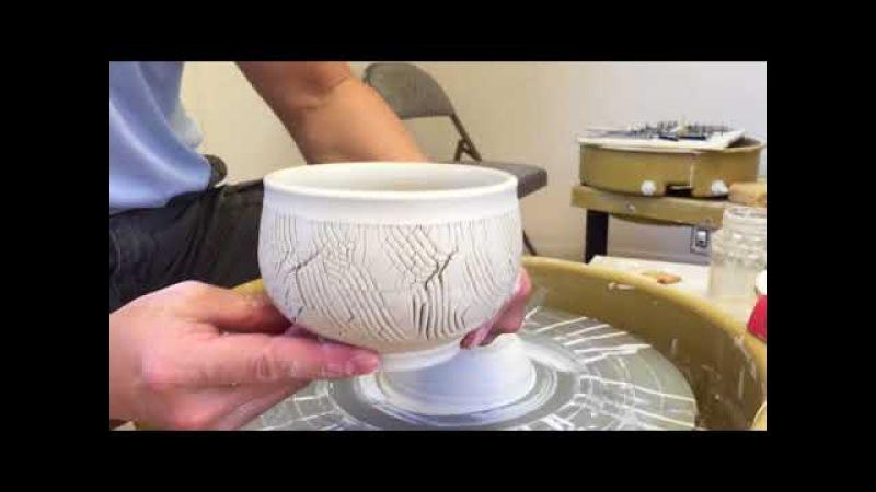 296. Making Sodium Silicate Texture Teabowl/Chawan with Hsin-Chuen Lin 林新春 岩花瓷茶碗示範