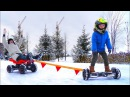 Bad Baby accident Car Stuck in the SNOW Ride on POWER WHEEL GyroScooter for kids