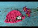 Шляпка панамка крючком Вяжем цветок Hat panama crochet Knit flower