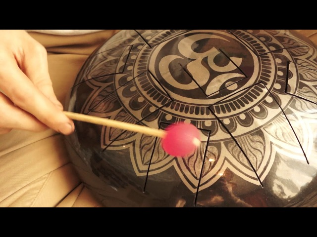 Amalgama Handmade steel tongue drum with Aum mandala