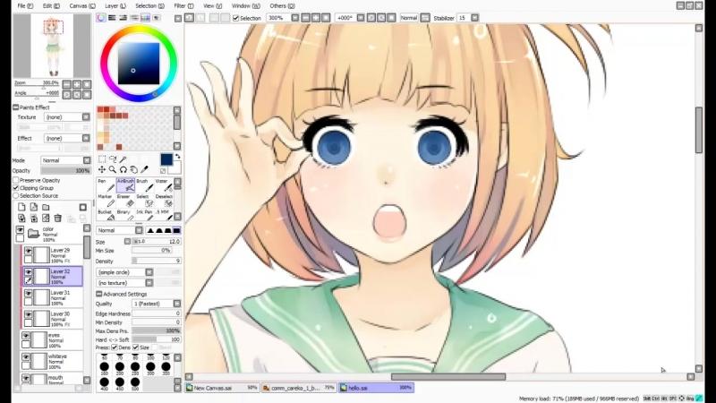 【Speedpaint】- Okay ! (как рисовать аниме в саи)