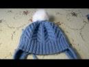 Вязаная спицами детская шапка с ушками