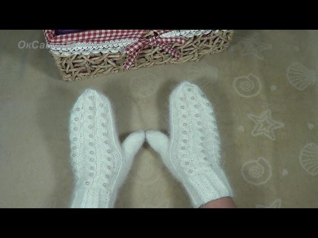 Варежки спицами. Knitted mittens.