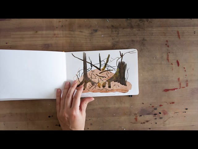 Watercolor sketchbook stumps and twigs by Olga Ezova-Denisova (Spring 2017)