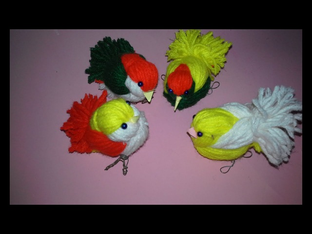 DIY Woolen Birds Wall Hanging for Home Decoration Woollen Bird making Jute Craft Idea