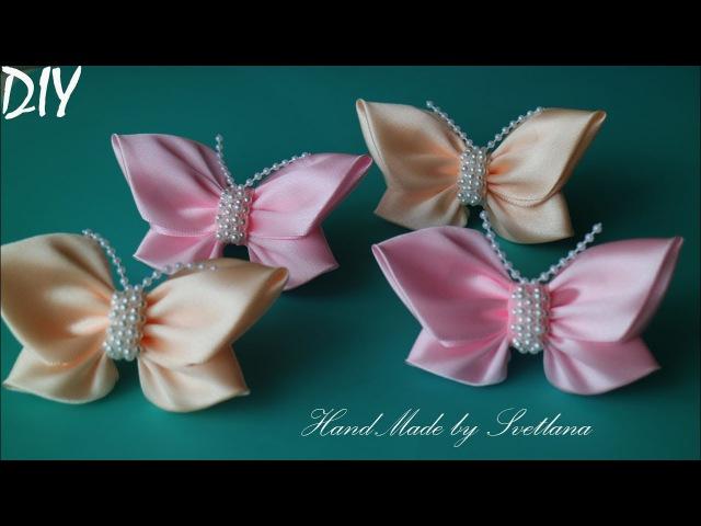 Бабочки из атласной ленты Бантики Канзаши для начинающих Satin ribbon bow Laco de fita