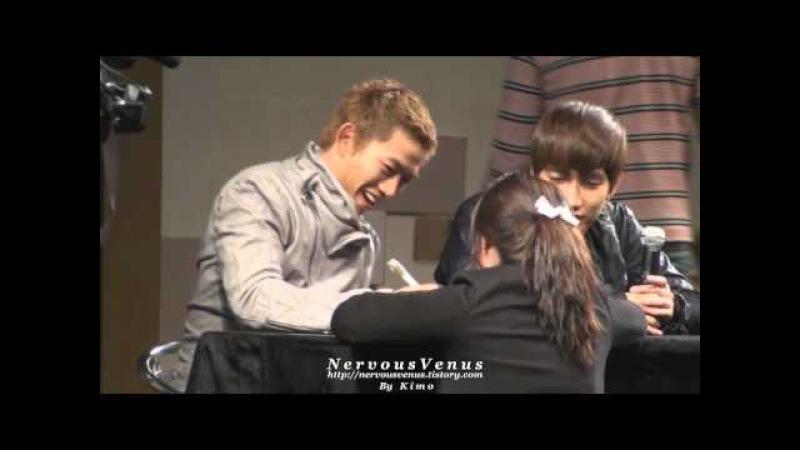[FANCAM] 101024 2PM Yongsan Fansign Taec's reaction with Biggest Fan
