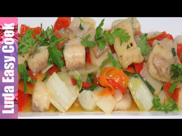 ВКУСНАЯ РЫБА в КИСЛО-СЛАДКОМ СОУСЕ с ОВОЩАМИ по-китайски   Fried Fish in Sweet and Sour Sauce