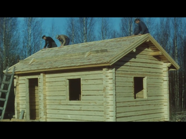 Traditional Finnish Log House Building Process - 16mm Film Scan - English Version