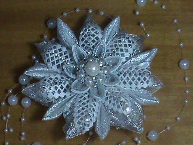 DIY/МК Как сделать новогоднюю снежинку на елочку, на обруч или на заколочку