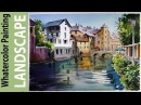 Watercolor Landscape Painting Canals of Bruges