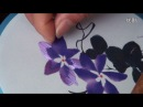 Chinese Suzhou Embroidery Sample 11 Purple Clivia 紫君子兰@金吴针苏绣