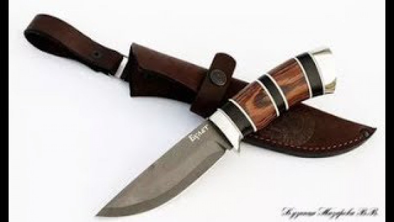 Как сделать красивую наборную рукоять из разных пород дерева для охотничьего кл...