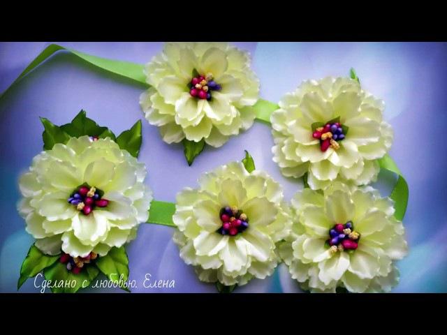 Flower Kanzashi Master Class DIY, Канзаши МК Лента в косу с большими цветами,