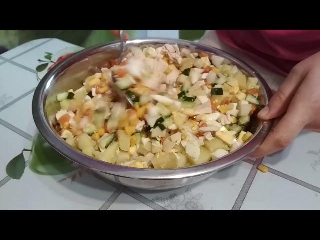 Салат Оливье с кукурузой и курицей